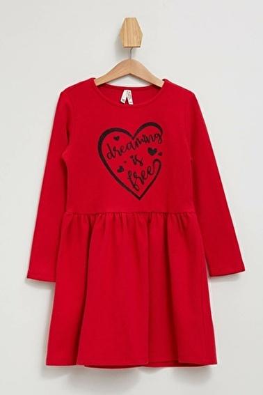 DeFacto Baskılı Uzun Kollu Elbise Kırmızı